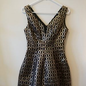 Structural, Gold & Black Party Dress